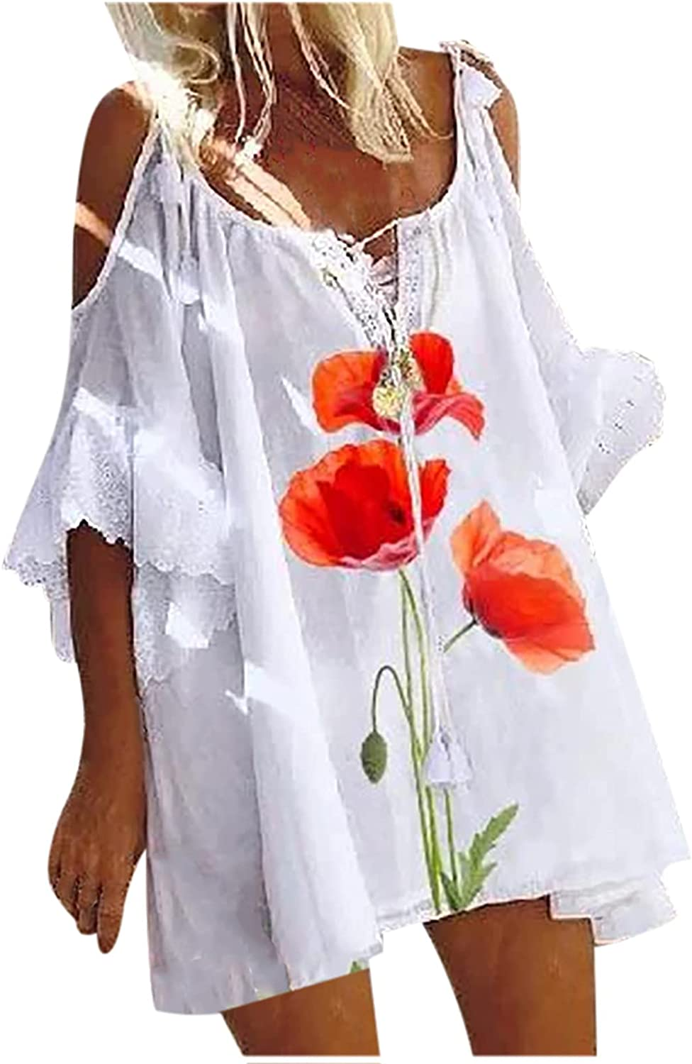 SHOPESSA Women's White Tshirt Dress Crew Neck Floral Loose Fit Ruffle 3/4 Sleeve Dress Baggy Beach Party Casual Mini Dresses