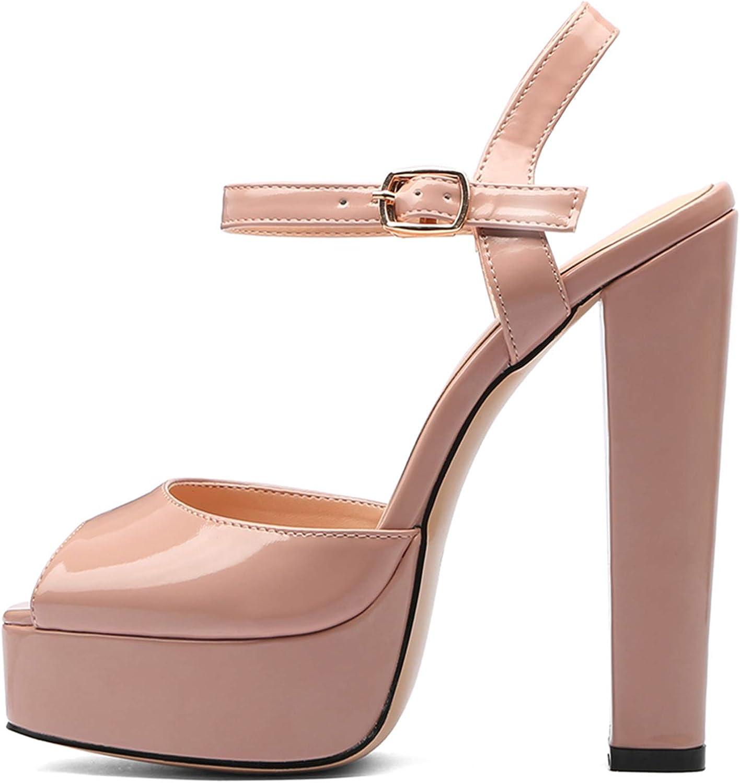 Donna 3cm Platform Heeled Seali Square-Toe Block Heels Peep-Toe 15cm Sautope col Tacco Pumps