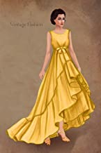 Vintage Fashion: Writing Notebook, Diary, 1950 yellow summer dress fashion illustration, fashionista journal with lined pages