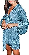 kHVeam Slim Dress Short Tutu Skirt Long Sleeve Irregular Cocktail Evening Dress