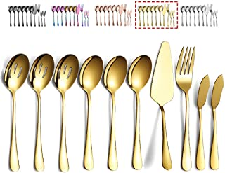 Gold Serving Spoons 10 Pieces, Kyraton Serving Utensils, Serving Set Include 3 Serving Spoon, 3 Slotted Spoon, 1 Serving F...