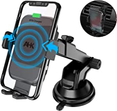 AHK Wireless Car Charger Mount, One Touch Automatic Clamping Qi 10W 7.5W Fast Charging, Windshield Dashboard Air Vent Phone Holder Compatible with iPhone Xs Max XR 8 Plus, Samsung S10 S9 S8,etc,Black