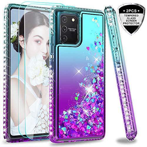 LeYi für Samsung Galaxy S10 Lite Hülle A9 Glitzer Handyhülle mit Panzerglas Schutzfolie(2 Stück), Diamond Cover Bumper Schutzhülle für Case Samsung Galaxy A91 Handy Hüllen ZX Turquoise Purple