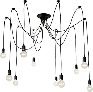 LNC Ceiling Spider Lamp Adjustable DIY 10 Arms Chandeliers Vintage Edison Style Pendant Lights for Any Rooms (Each with 54.5