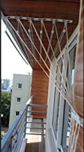 Stainless Steel Rods with Iron Brackets Clothes Drying Ceiling Hanger Free Installation (6 Feet)