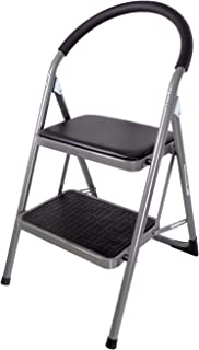 Duwee 2 Step Ladders Folding Step Stool with Hand Grip,Soft Pad for Seating,Unique Locking Design,Anti-Slip Sturdy and Wide Pedal,Multi-Functional Indoor Outdoor Steel Ladder&Chair(Black&Silver)