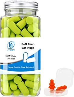 LYSIAN Ultra Soft Foam Earplugs 60 Pairs with Reusable Silicone Earplug, 31dB NRR Ear Plugs, Comfortable Ear Plugs for Hearing Protection, Sleeping, Snoring, Work, Travel and Loud Events