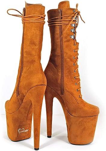Leecabe Chaussures de Pole Dance 20 cm à Talon Haut Plateforme en Daim - Noir - Camel, US8.5 EU39