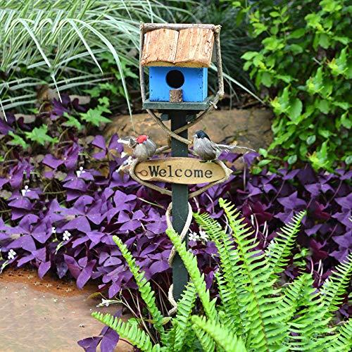 """wxq 1 x Vogelnest aus Holz für den Außenbereich, mit Aufschrift """"Welcome to Insert"""", für Villa Garten, Landschaft, verschiedene dekorative Ornamente (Farbe: I)"""