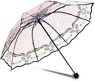 WMS Automatic Transparent Umbrella Umbrella Female Rain Men Sun Umbrella Umbrella Umbrella Small Folding Windproof Transparent Umbrella Color : E