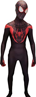 CosplayLife Miles Morales Cosplay Costume | Lycra Fabric Bodysuit Black | with Mask and Lenses | Halloween Men's & Kids Sizes