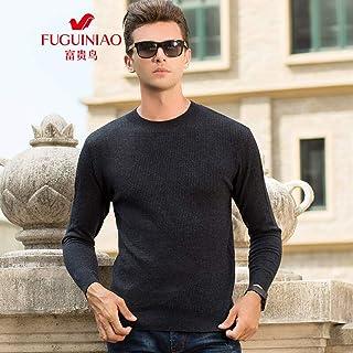 富贵鸟羊毛衫男中年男士纯色圆领纯羊毛T恤爸爸装毛衣针织衫男