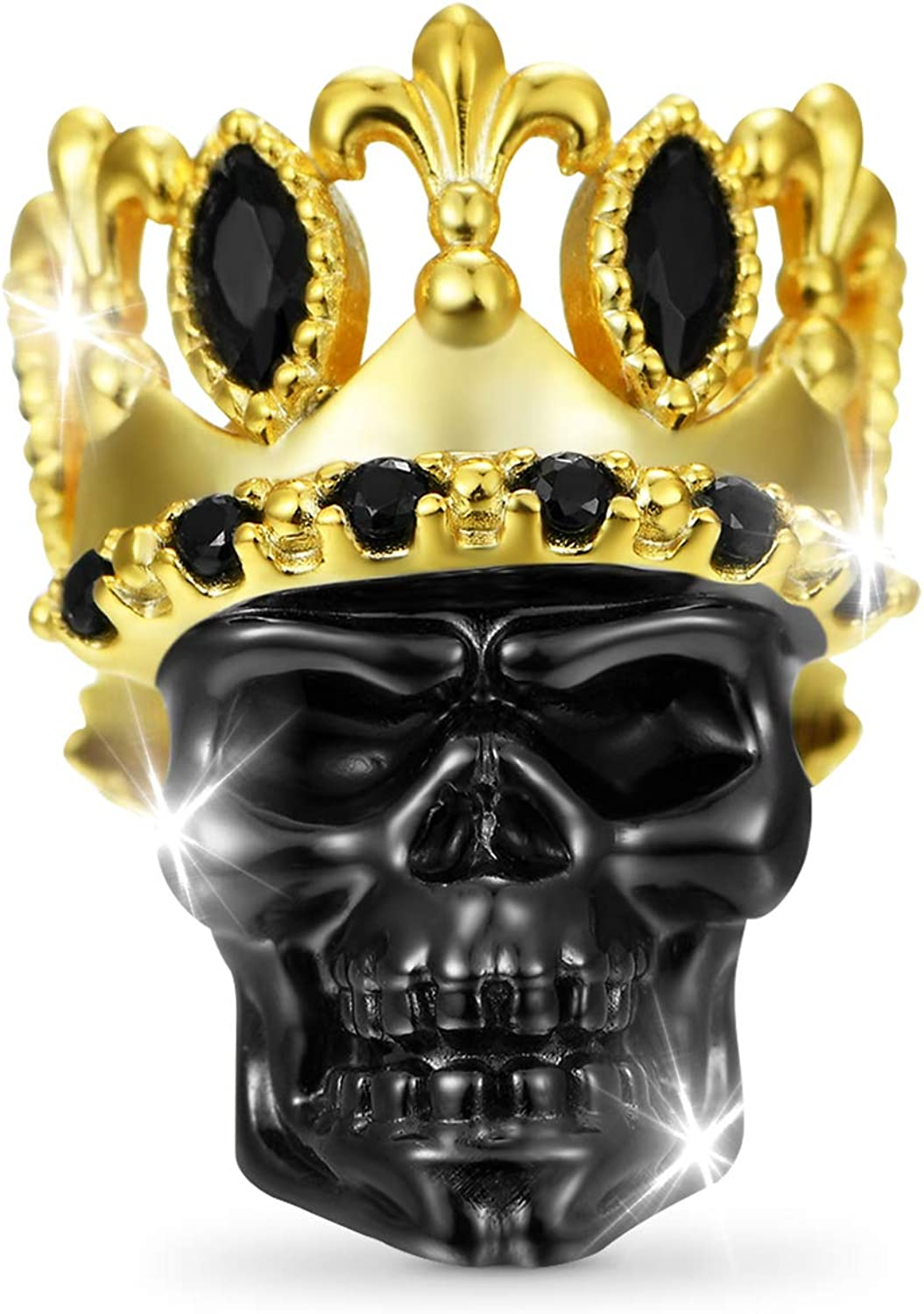 In a popularity Selling and selling GNOCE Crown Skull Charm Bead Sterling Plated Silver Bla Gold 18K