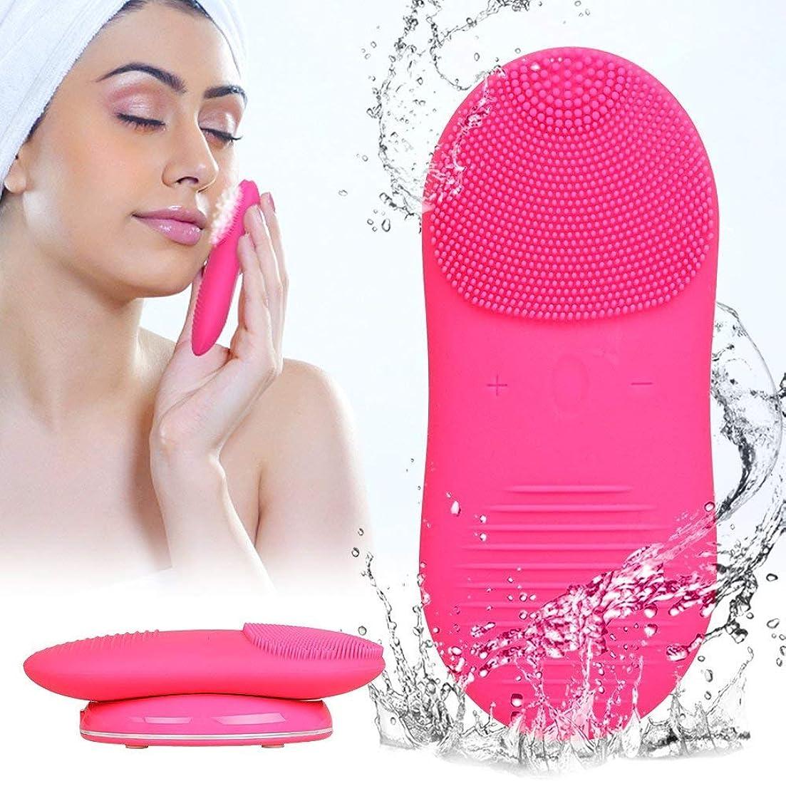 うがい唯物論感謝する電気クレンジングブラシシリコーンフェイスクレンザー洗顔ブラシ電動ソニック振動穏やかな角質のアンチエイジングマッサージスキンケアバラ色