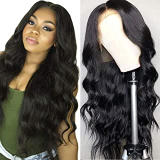 Grace Plus Hair 13x4 Brazilian Human Hair Lace Front Wig 150% Density Glueless Pre-Plucked Body Wave Lace Front Wigs For Black Women Natural Color Body Wave Human Hair Wigs with Baby Hair (16inches)