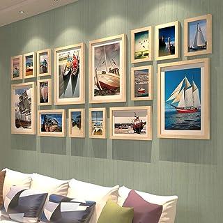 JY Conjunto de marcos de fotos de madera en el centro comercial residencial montado en la pared - Marcos de fotos modernos...