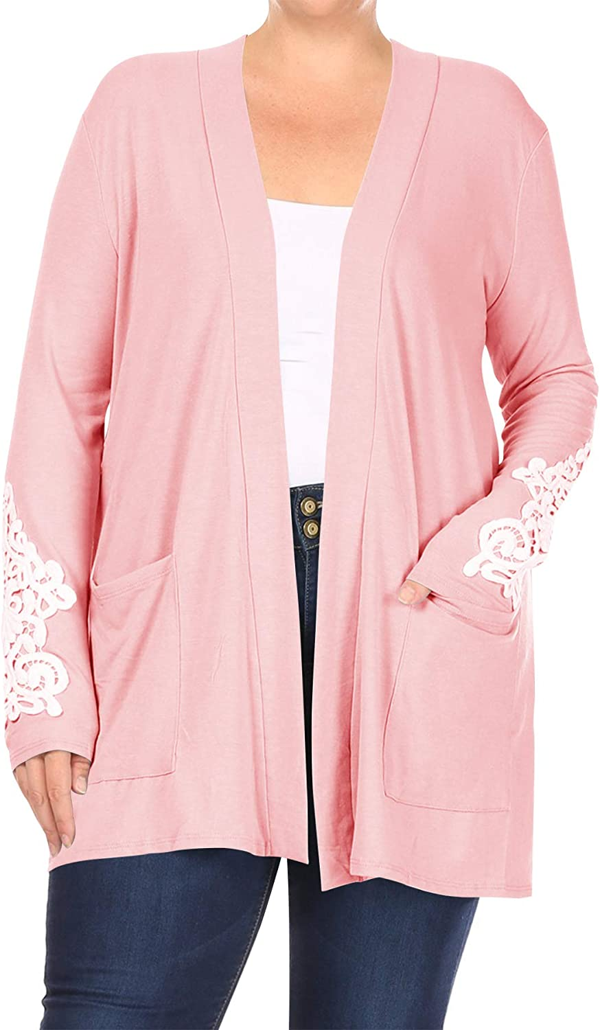 Women's Plus Size Lightweight Solid Long Sleeves Lace Patches Pockets Cardigan XL-3XL