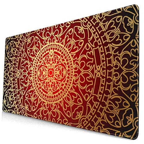 HENTIN Antislip rubberen gamingmuismat, rechthoekige muismat Vintage roodgoud Oosters luxe Marokko Perzisch tapijt Oost-etnisch Oosters
