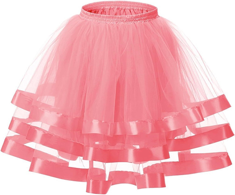 SDRESS Women's 3 Layers Mini Tulle Tutu Skirt Cocktail Party Half Skirt