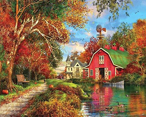 Puzzle 1000 Pezzi Cottage d'autunno 70x50 CM Decorazione Domestica Memory Gioco Puzzle di Paesaggio Cartone Puzzle con Foto