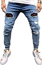 Strappati Jeans Casual Uomo Slim Fit LandFox Jeans Fori da Moto Slim Fit da Uomo Pantaloni in Denim con Cerniera per Jeans Pantaloni Skinny Lunghi Cargo Trousers Grigio Jeans Uomo strappato Stretti