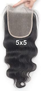 Luwigs Transparent Lace 5x5 Lace Closure Human Hair Body Wave with Baby Hair Bleached Knots Hairpieces (20 inches, Body Wave, Transparent Lace)