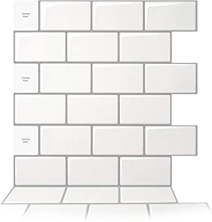 Best Art3d 10-Sheet Peel and Stick Backsplash, 12 in. x 12 in. Subway 3D Wall Panels, Mono White with Gray Grout Review