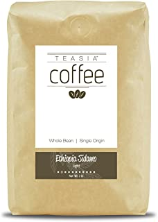 Teasia Coffee, Ethiopia Sidamo, Single Origin, Light Roast, Whole Bean, 2-Pound Bag