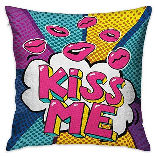 N\A Kiss Square Fundas de Almohada Kiss Me Word Bubble en Estilo Pop Art Retro Colorido Fondo Punteado con Labios Rosados Fundas de cojín Multicolor Fundas de Almohada para sofá Dormitorio Coche