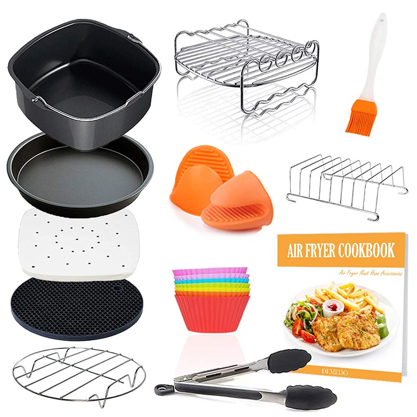 Square Air Fryer Accessories 11 pcs with Recipe Cookbook Compatible for Philips, COSORI, NuWave Brio and other Square AirFryers and Oven, Deluxe Deep Fryer Accessories Set of 12 qghyzgtvqvuku73