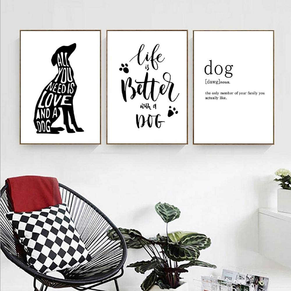 Canvas Superlatite art Black New Free Shipping And White Dog Wall Ar Paintings Abstract