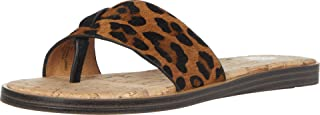 Yellow Box womens Assymetrical Flat Sandal, Leopard, 6.5 US