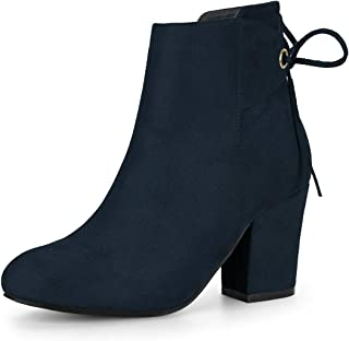 Women's Round Toe Block Heel Zipper Lace Up Ankle Boots