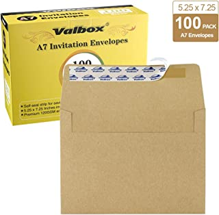 ValBox 100 Qty A7 Invitation Envelopes 5 x 7, 120GSM Brown Kraft Paper Envelopes for 5x7 Cards, Self Seal, Weddings, Invitations, Baby Shower, Stationery, Office, 5.25 x 7.25 Inches