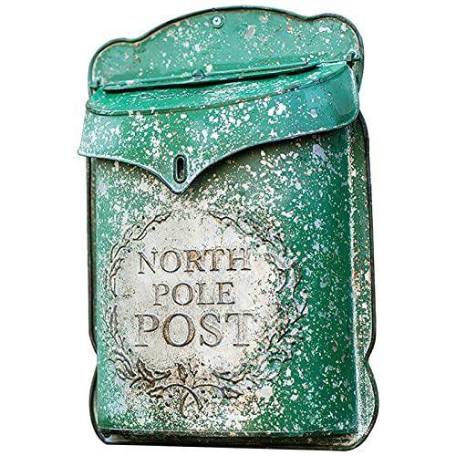 HWF Briefkasten Rustikal Gusseisen An der Wand montiert Briefkasten, Jahrgang Postbriefkasten, Außen hängendes Dekor für Haus/Veranda/Haustür, 27,5 x 9 x 39,5 cm, Grün