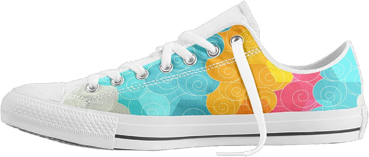 Women's Abstract color Circle Low Top Flat Classic Casual Canvas shoes Durable Basketball Tennis Athletic shoes