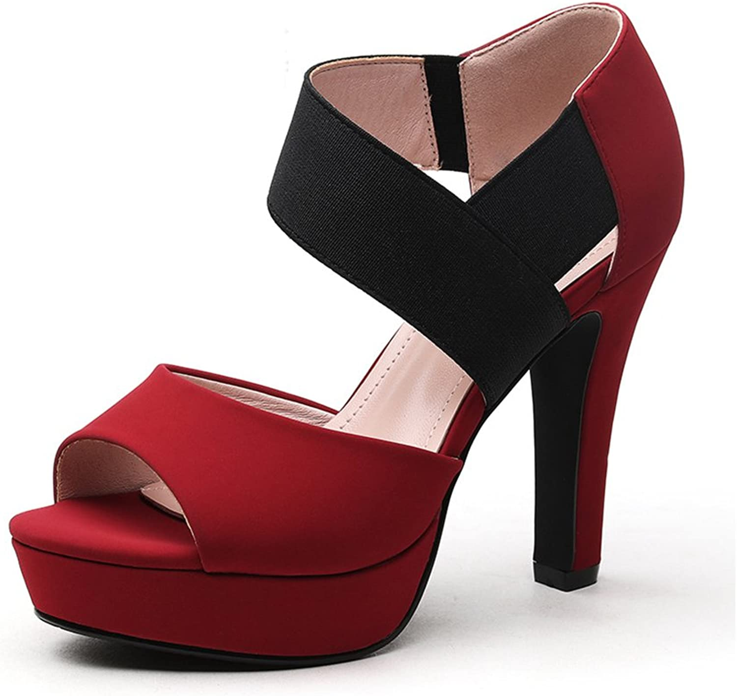 New Summer Spring high Heels Single shoes sandals Fashion Women's shoes (high 11cm) (color   Red, Size   35)