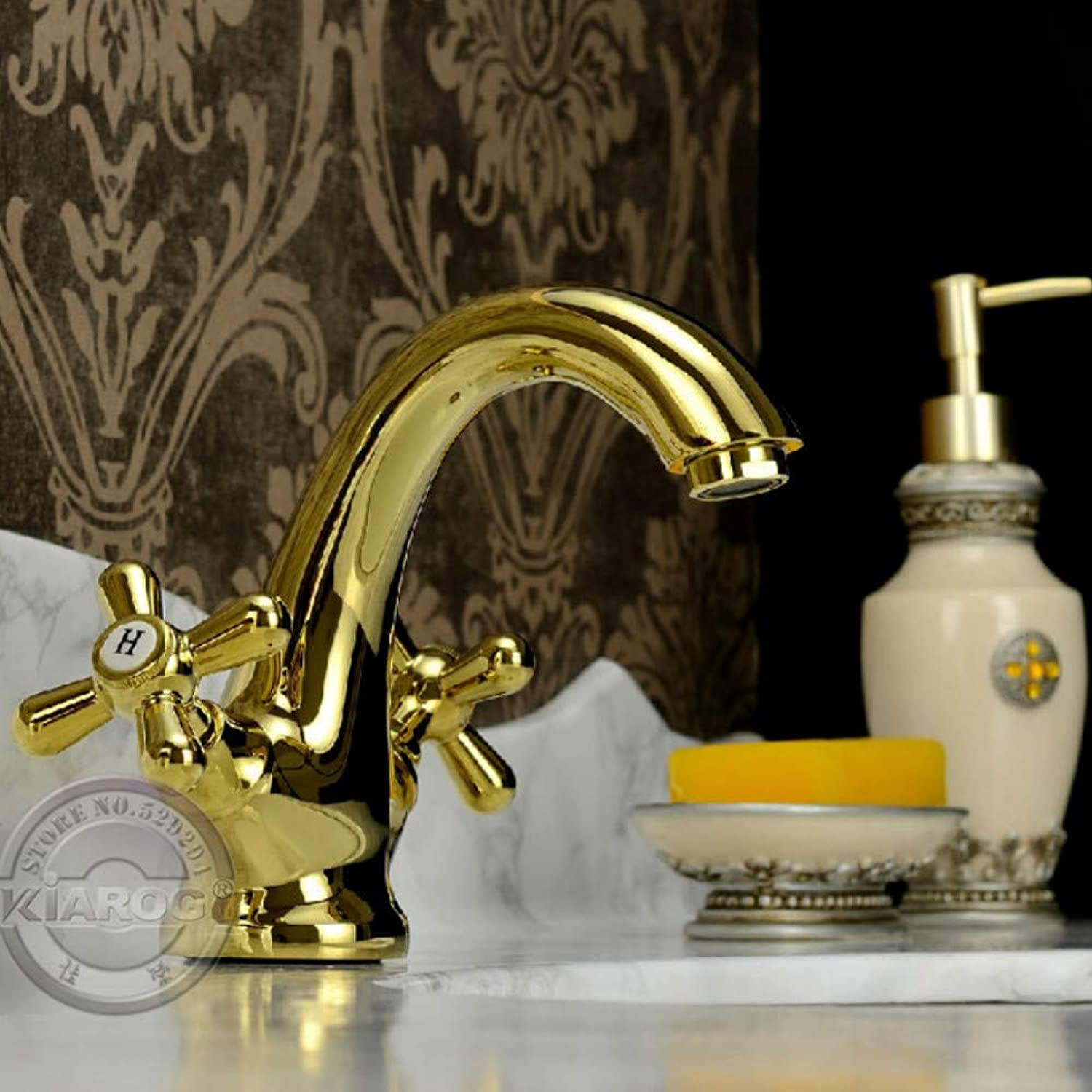 Lddpl New Style Claw-Foot Bathroom Basin Sink Mixer Tap.gold Double Handle Bathroom Basin Faucet.Single Hole gold Water Faucet