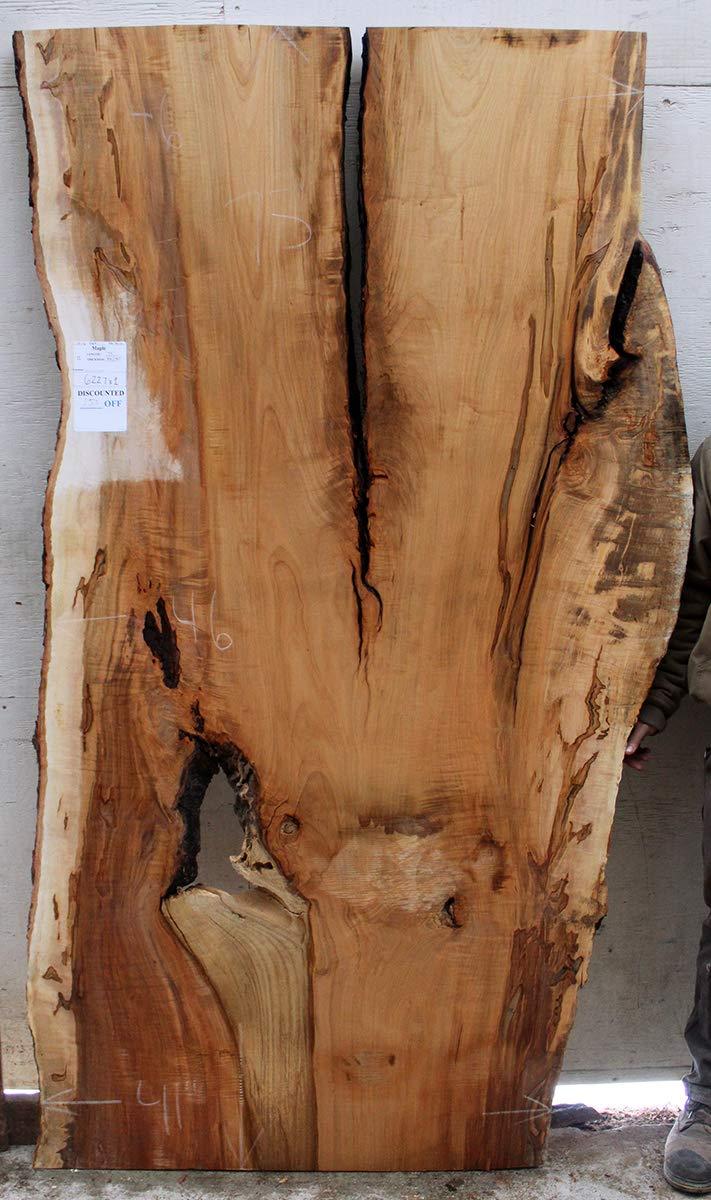 Figured Live Edge Kitchen Island Natural Ambrosia Maple Raw Wood Slab Desktop Custom Furniture Unfinished Wooden Rustic Tabletop DIY 6227x1
