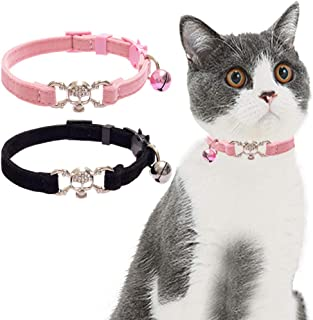 KOOLTAIL Breakaway Cat Collar Bling Skull with Bell - 2 PCS Charming Pet Collars with Safety Buckle Accessory for Cats Kitten,Black&Pink