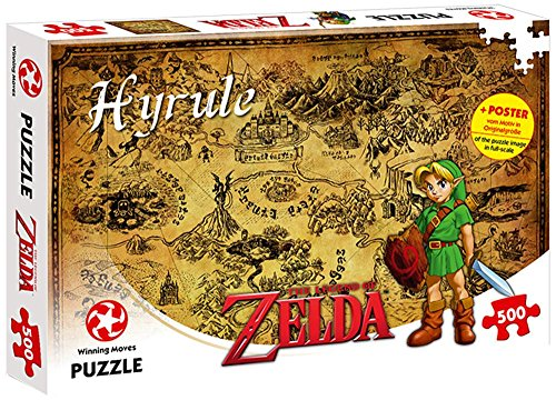 WINNING MOVES- Number 1 Puzzle - The Legend of Zelda Hyrule Field (500 Teile) Nein Pezzi, Colore Poster dal motivo in dimensioni originali, Standard, WIN11125