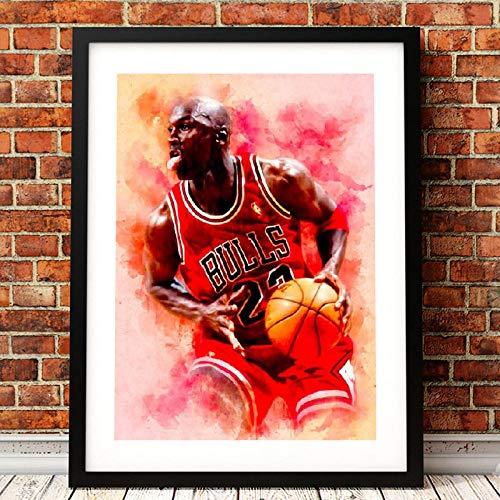 QZROOM Michael Jordan Poster Basketball Wandkunst Leinwand Malerei Bild Aquarell handgemacht abstrakt modern gedruckt Home Room Wanddekoration   50x70cm / ohne Rahmen