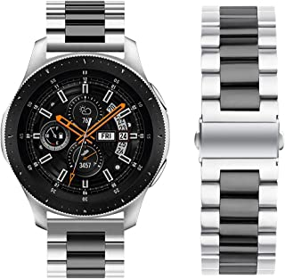 Oitom Stainless Steel Bands for Samsung Galaxy Watch 46mm Galaxy S3 Classic/Frontier,22mm Premium Metal Replacement Band (Silver/Black)
