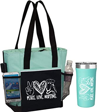 Peace, Love, Nursing. 2-Piece Gift for Nurses. Includes Insulated Tote Bag and Stainless-Steel Tumbler. Great Thank You Gift