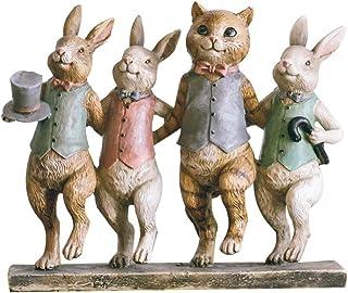 LYN Decoración de estantería Decoración de Gatos y Conejos Sala de Estar Americana Decoración del hogar Vintage Resina Artesanía Regalo de cumpleaños de año Nuevo