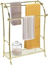 mDesign Large Freestanding Towel Rack Holder with Storage Shelf - 3 Tier Metal Organizer for Bath & Hand Towels, Washcloth...