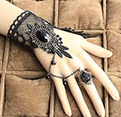 Daimay Black Choker Lace Necklace with Bracelet Set Punk Party Gothic Vintage Handmade Lolita Retro Bracelet Wristband for Women #3