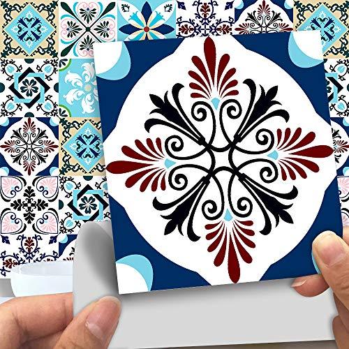 Mezcla de color azul claro Pegatinas de pared Azulejos de pared Pegatinas de azulejos, PVC Ambiental Decoración autoadhesiva móvil Cocina Baño 30cm * 30cm 10pcs
