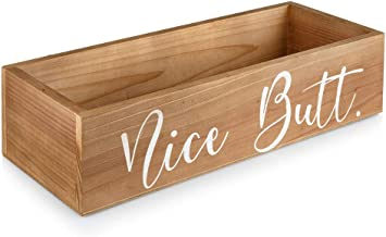 Collectively Essential: Nice Butt Bathroom Decor Box - Farmhouse Rustic Wooden Home Decor Crate - Toilet Paper Holder