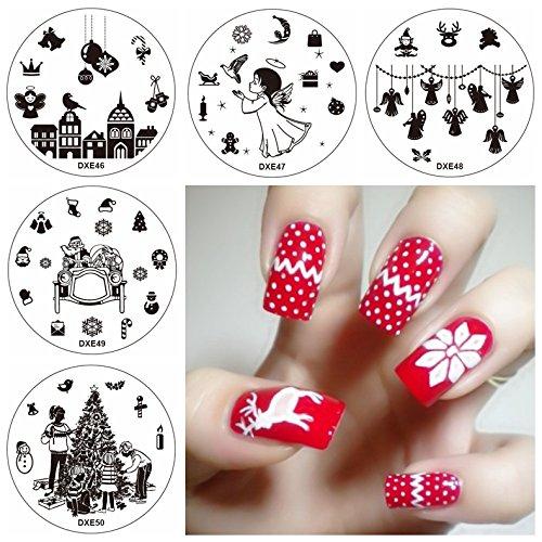 5 stks Kerstmis Nagel Afbeelding Sjabloon Postzegels Set Sneeuwvlok Vogel Sneeuwman Engel Kerstman